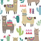 Alpaka, Lamas und Kaktusmuster von kennasato