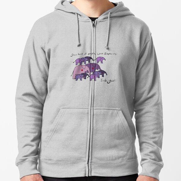 Herd of Purple Love Elephants Zipped Hoodie
