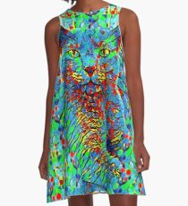CAT POINT PAINTING A-Linien Kleid
