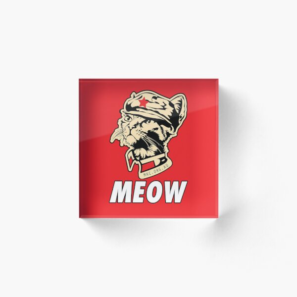 MKC Obey Meow - Chairman Meow OBEY the kitty! Red on Red! Acrylic Block