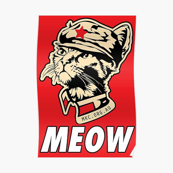 MKC Obey Meow - Chairman Meow OBEY the kitty! Red on Red! Poster