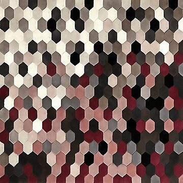 Hexagon Pattern In Gray and Burgundy Autumn Colors by taiche