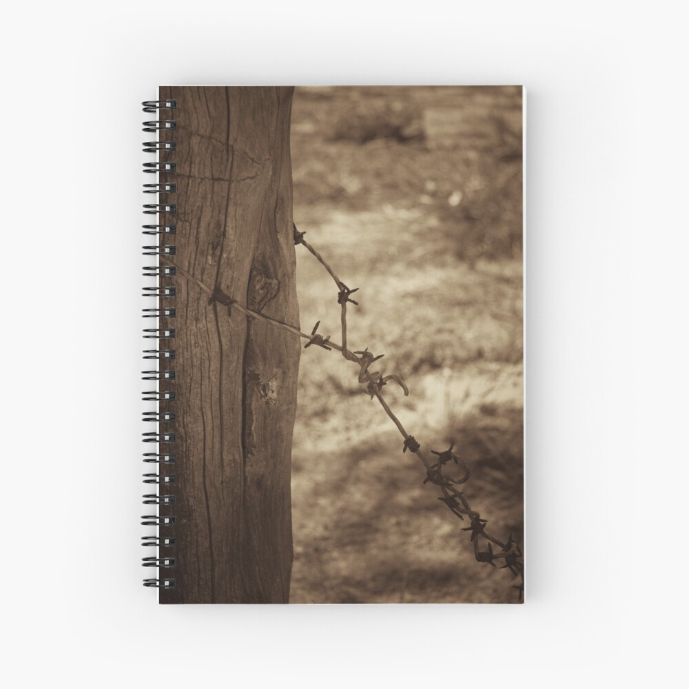 Old barbed wire - sepia Spiral Notebook