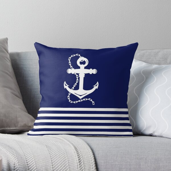 AFE Navy & White Anchor and Chain Throw Pillow