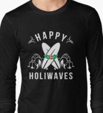 Happy Holiwaves Holidays Christmas Surfing Long Sleeve T-Shirt