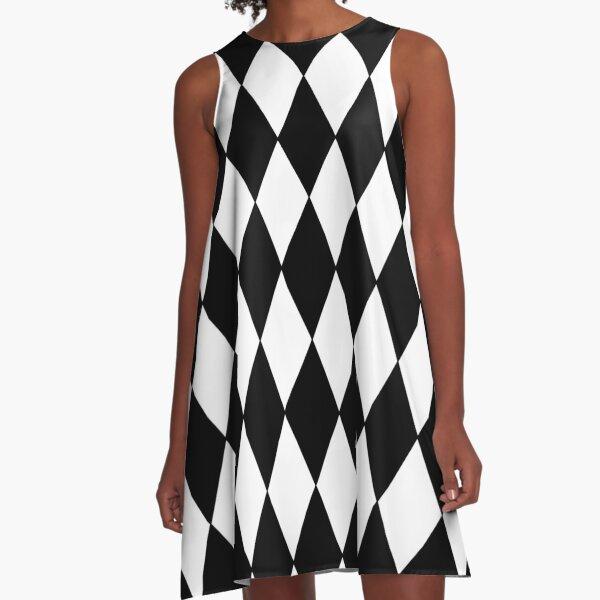 Black White Harlequin A-Line Dress