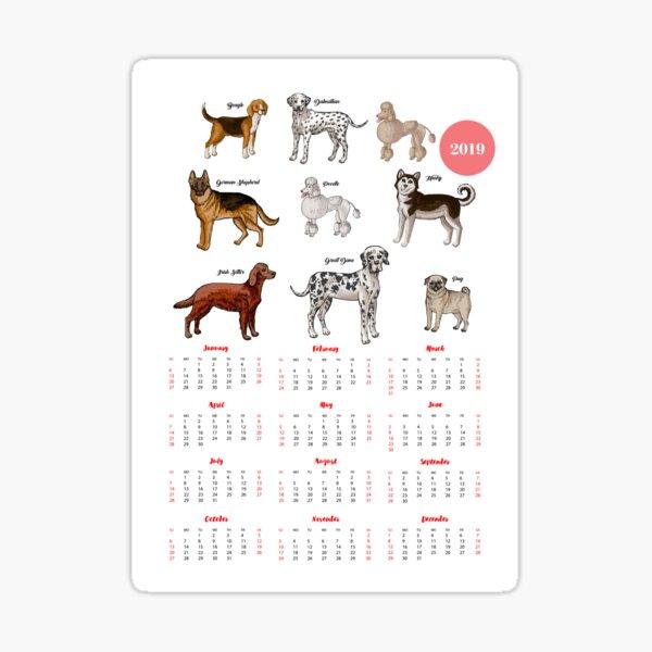 Calendar 2019 Dogs Sketches I Sticker