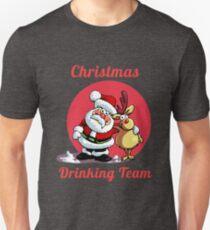 Drinking Christmas Team Cute Cartoon Santa With Deer Gift Unisex T-Shirt