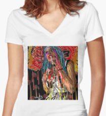 LOVE YER BRAIN Women's Fitted V-Neck T-Shirt
