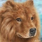 Painting of a Fluffy Brown Chow Chow Dog by ibadishi