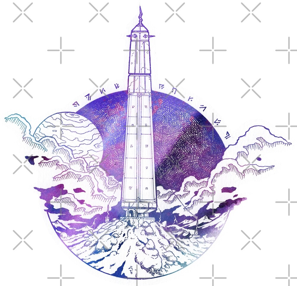 Fantasy landscape illustration - Storm obelisk - Watercolor ink artwork by zachholmbergart
