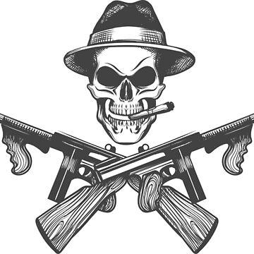 Gangster Skull Illustration by devaleta