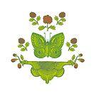 Schmetterling mit Blumen, butterlfy von einechtervogel