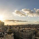Madrid Cityscape from Above - Sundowner Time Over the Rooftops  by Georgia Mizuleva