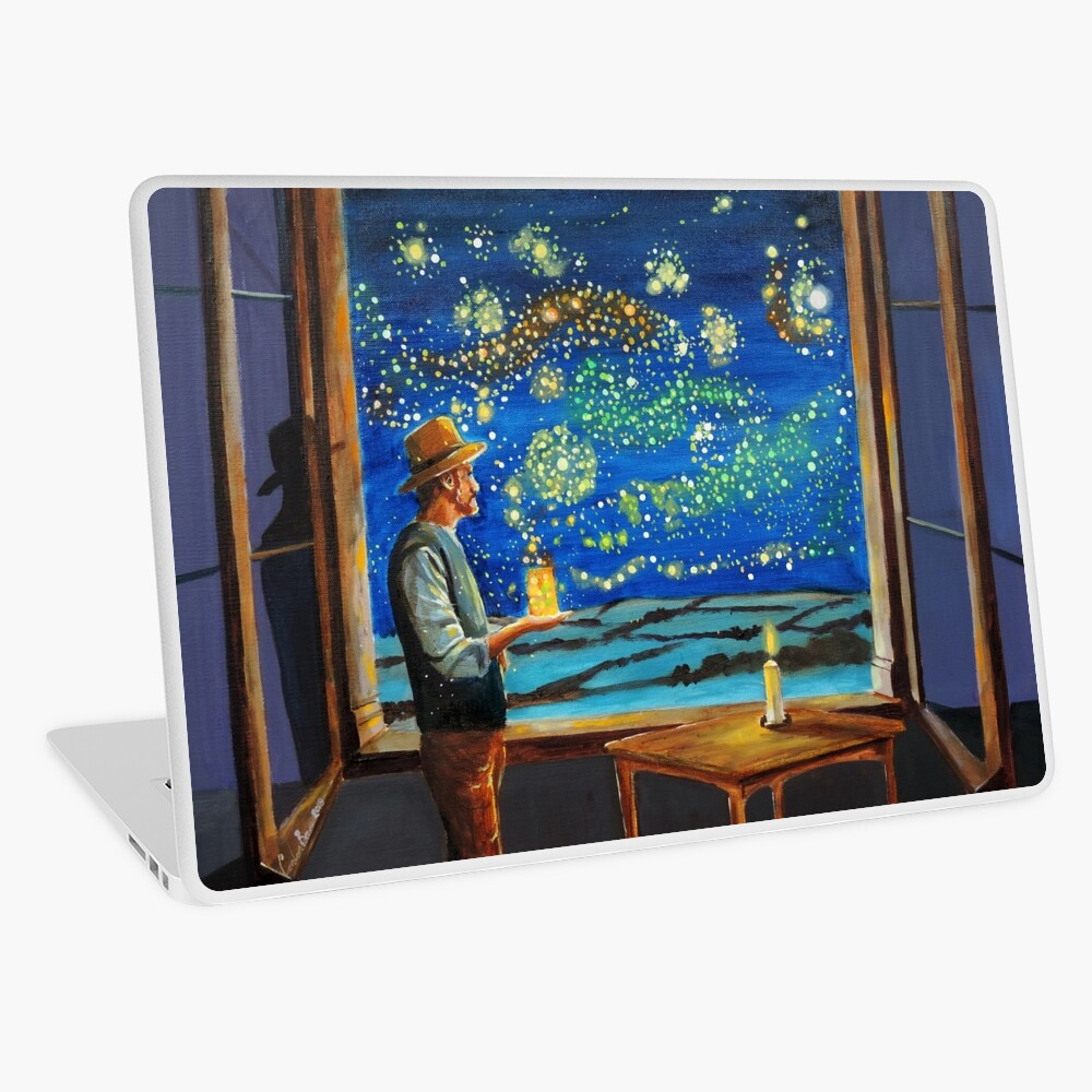 Van Gogh & The Starry Night with fireflies Laptop Skin