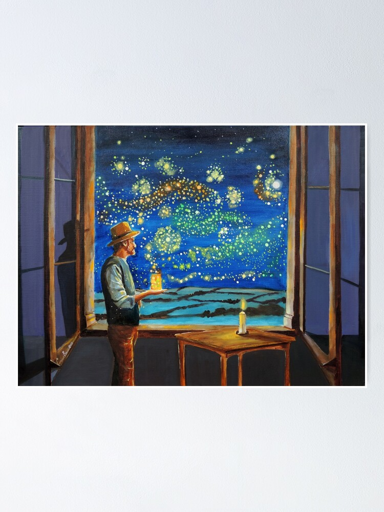 Alternate view of Van Gogh & The Starry Night with fireflies Poster