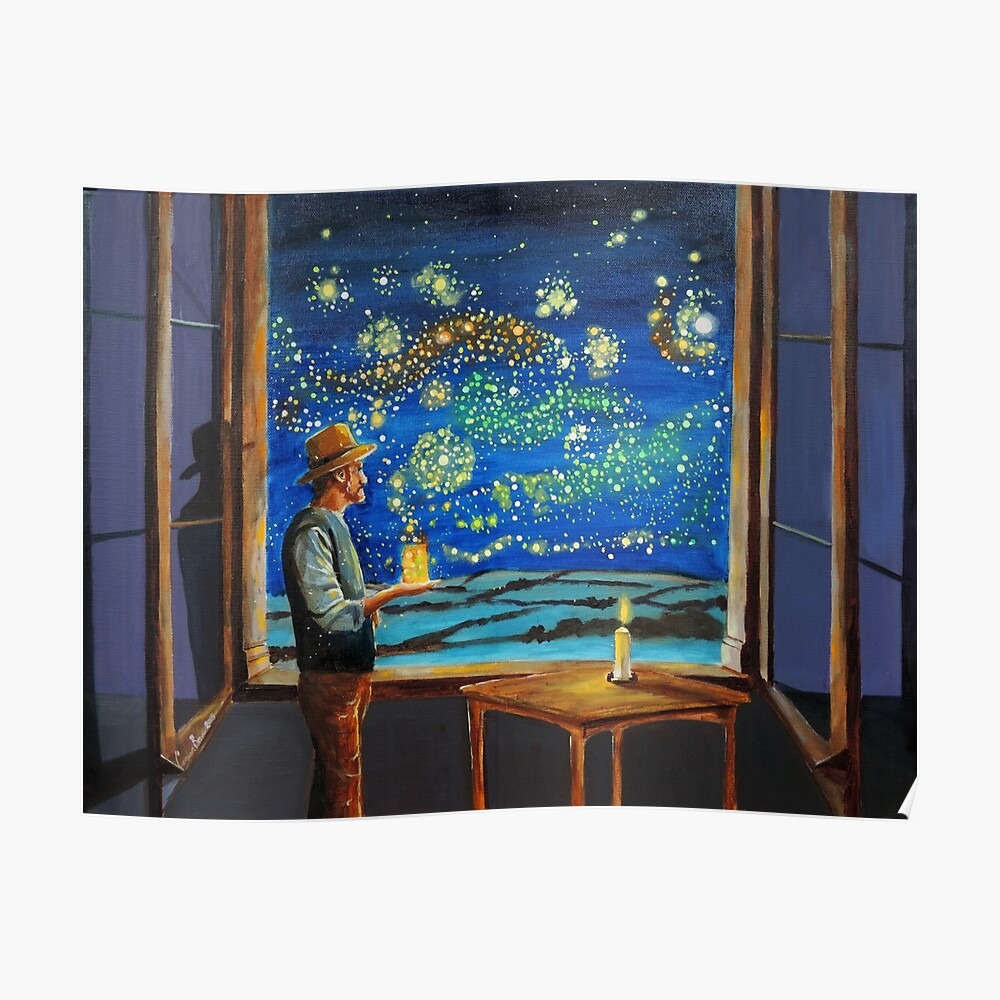 Van Gogh & The Starry Night with fireflies Poster
