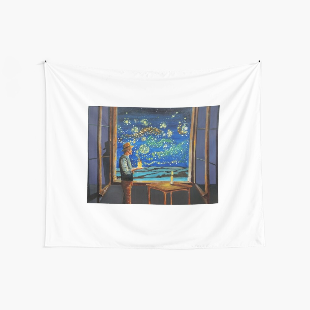Van Gogh & The Starry Night with fireflies Wall Tapestry