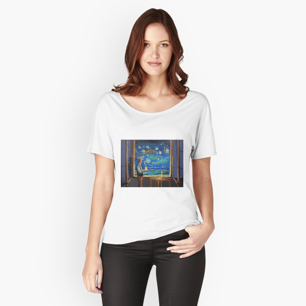 Van Gogh & The Starry Night with fireflies Relaxed Fit T-Shirt