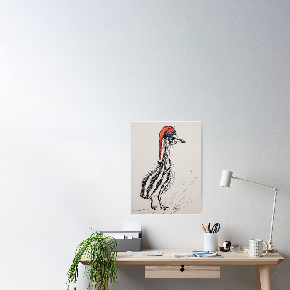 Christmas Cassowary Poster By Wendyanneart Redbubble