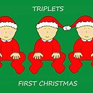 Triplets First Christmas, Babies in Santa Outfits. by KateTaylor