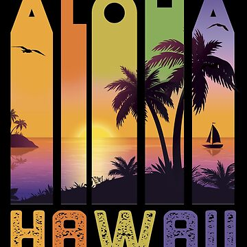 Aloha Hawaii Sailboat Ocean Palm Tree Vacation by VintageInspired