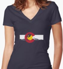 Snowboarder - Colorado Flag Women's Fitted V-Neck T-Shirt