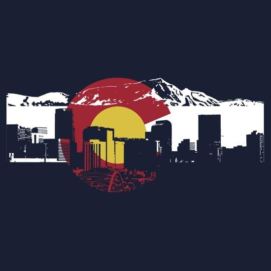 TShirtGifter presents: Denver Skyline - Colorado Flag