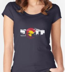 Denver Skyline - Colorado Flag Women's Fitted Scoop T-Shirt