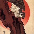 Falcon On A Pine With Rising Sun by Utagawa Hiroshige (Reproduction) by Roz Abellera