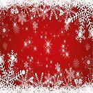 Schneeflocken / Sterne: Weihnachten in rot weiß (quadratisch) von Bach4you