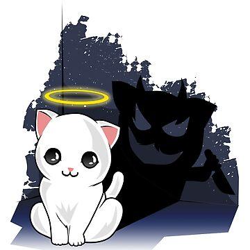 Kitty Cat Devil Evil Funny Shirt  by Ducky1000