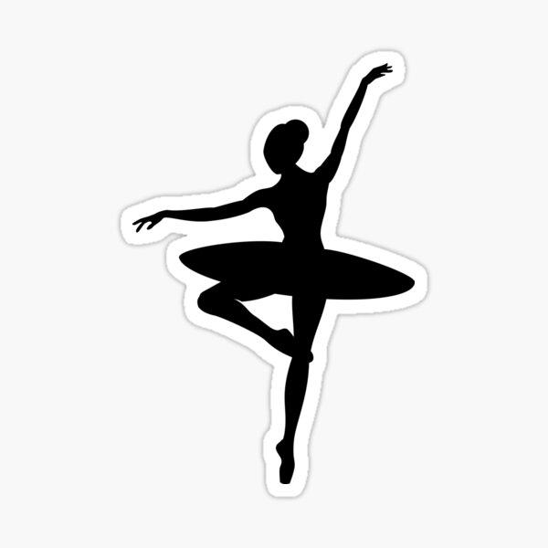 Zarte Ballerina-Pose - Schwarze Silhouette Sticker