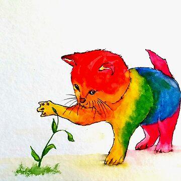 Gay Cat - rainbow by Croftsie