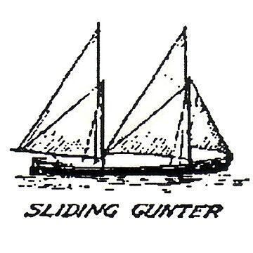 Sail Ships, Sliding Gunter. (Black and white) by timothybeighton