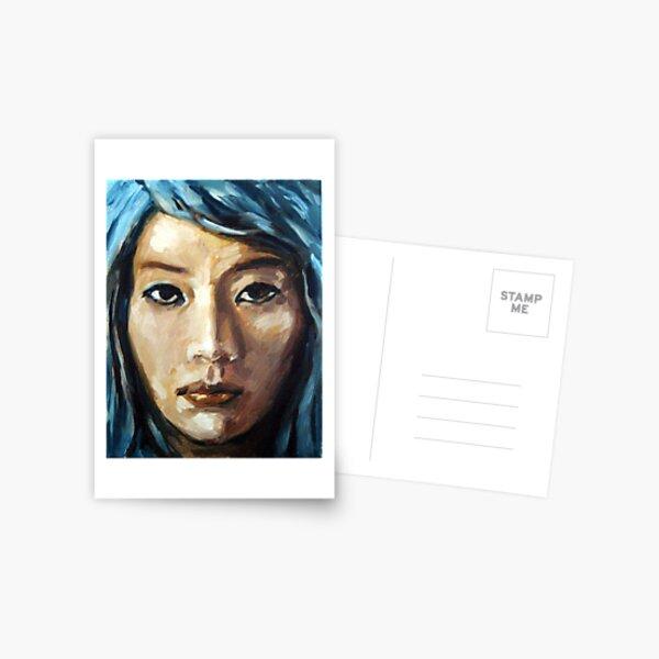 asian girl framed with blue hair Postcard