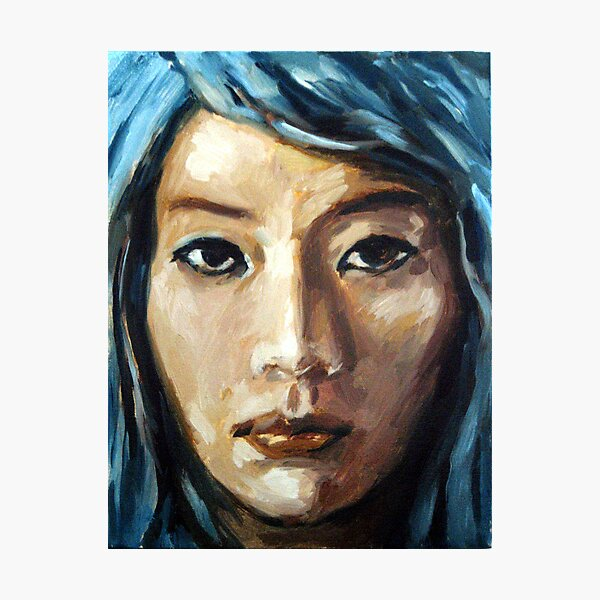 asian girl framed with blue hair Photographic Print