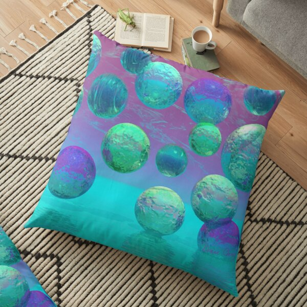 Ocean Dreams Aqua - Dare to Follow Your Passion Floor Pillow