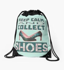 keep calm an collect shoes Drawstring Bag