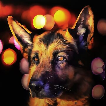 A German Shepherd. (Painting) by cmphotographs