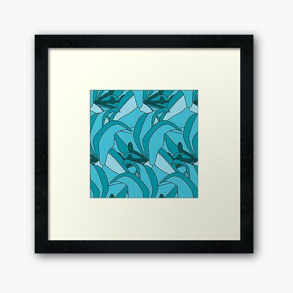 Turquoise Flower Flourish Framed Art Print
