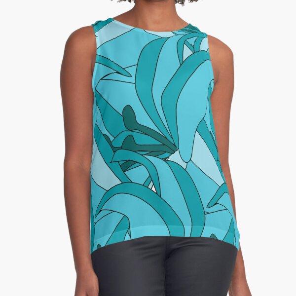 Turquoise Flower Flourish Sleeveless Top