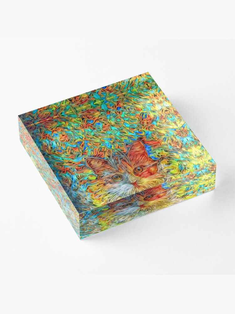 Alternate view of Abstract Cat Acrylic Block