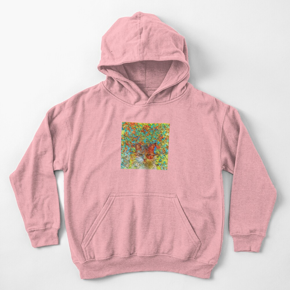Abstract Cat Kids Pullover Hoodie