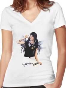 ANGELS WEEP Women's Fitted V-Neck T-Shirt