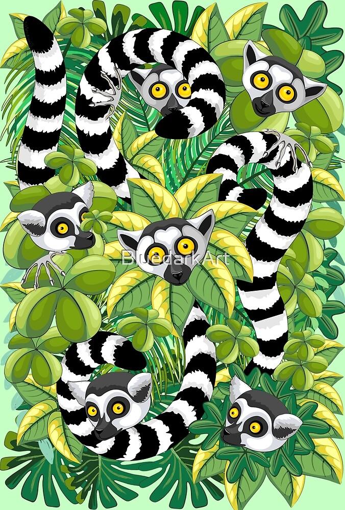 Lemurs in Madagascar Rainforest by BluedarkArt