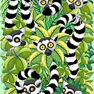 Lemurs in Madagascar Rainforest by BluedarkArt