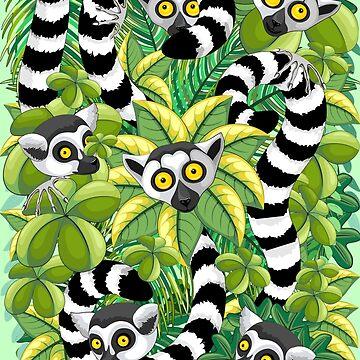 Lemurs on Madagascar Rainforest by BluedarkArt