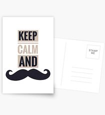 Keep calm and mustache Postcards