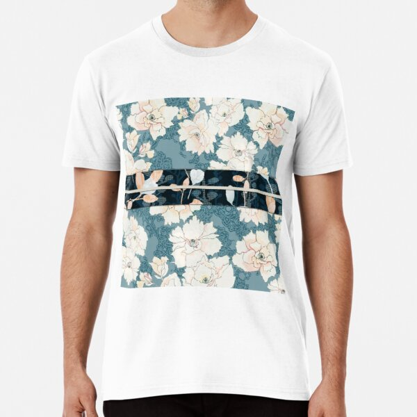 "Teal Peony Blossom with Contrast ""Obi"" Print Premium T-Shirt"